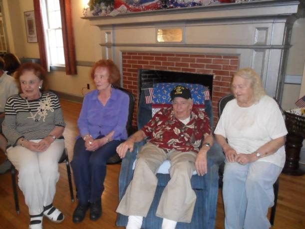 Grandpa on his 95th birthday.  On the left are his twin baby sisters Bettie and Bonnie, to the right his sister-in-law Ruth.