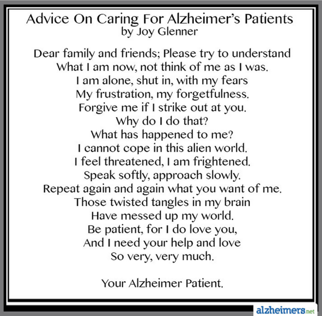 advise on caring for alz